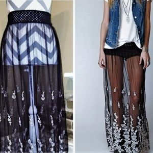 Gypsy Junkies Sheer Black Embroidered Maxi Skirt